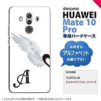 HUAWEI Mate 10 Pro(ファーウェイ メイト 10 Pro) スマホケース カバー ハードケース 翼(ペア) 白(左) イニシャル対応 O nk-m10p-788ini-o