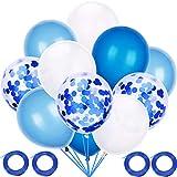 Blulu 60ピース ブルーシリーズ ラテックスバルーン パーティー用装飾バルーン 4ロールのブルーリボン付き ベビーシャワーパーティー ウェディング 誕生日の装飾用