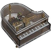 Splendid音楽ボックスCo。クリアアクリルベビーGrand Piano Musical Figurine Plays Tune Love Story
