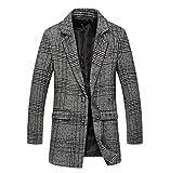 [美しいです] 男性 ダスターコート コート ラシャ 長袖 ボタン ゆったり 春 秋 冬 コード カジュアル オシャレ 厚い イングランド風 チェック (M, カーキ)