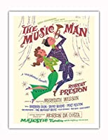 ミュージックマン - 出演:ロバート・プレストン - マジェスティックシアター、ブロードウェイ - ビンテージな劇場のポスター によって作成された デイヴィッド・クライン c.1957 - アートポスター - 51cm x 66cm