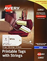 Avery Printable Tags with Strings for Inkjet Printers 2 x 3.5 Pack of 96 Stringed Tags (22802) 【Creative Arts】 [並行輸入品]