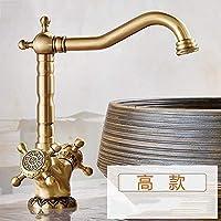 バスルームのシンクの蛇口 銅大陸盆地の蛇口銅アンティークアート盆地の蛇口浴室お湯と水の蛇口アンティークテーブル盆地タップは360度回転させることができます (Color : High))