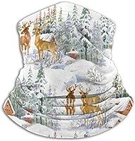 鹿のある冬景色 ネックウォーマー マフラー 帽子 ヘッドバンド 秋冬 防寒 防風 キャップ 多機能 ネック ゲーター 通勤 通学 バイク アウトドア 通気性 呼吸しやすい 男女兼用 フリーサイズ