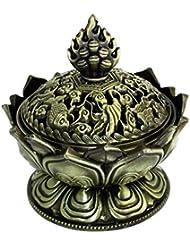 【REG-INTE1】 風水 開運 香炉 (蓮の花型 H2S-青銅色)