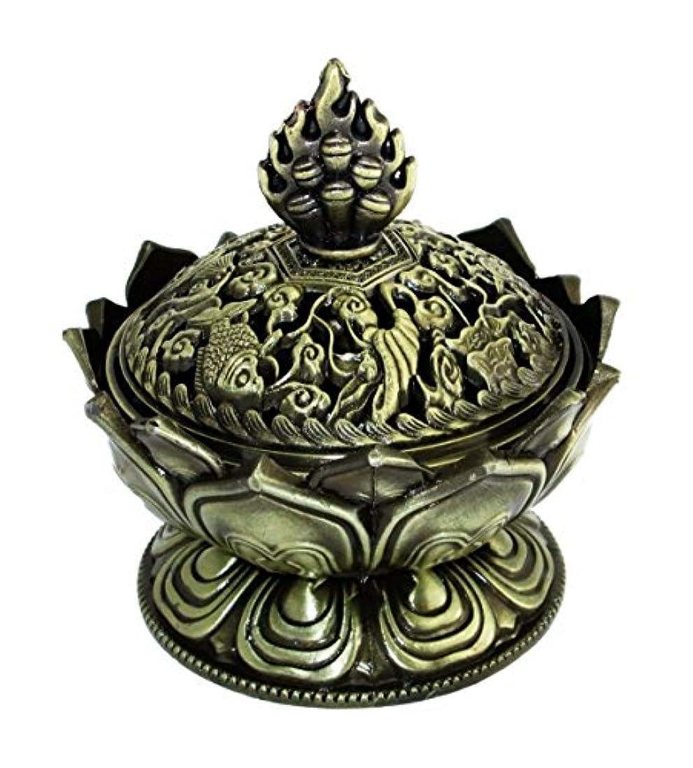 アルカトラズ島移民マザーランド【REG-INTE1】 風水 開運 香炉 (蓮の花型 H2S-青銅色)