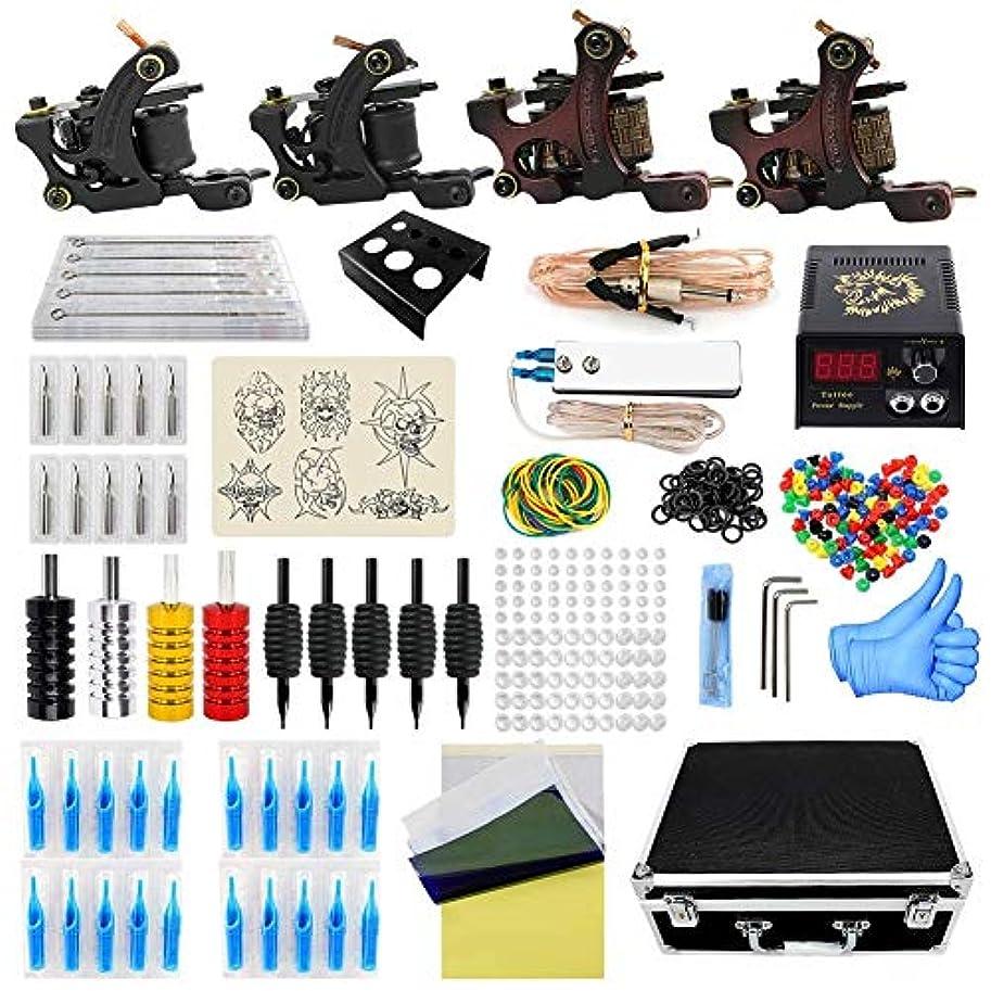 常習的踏みつけ配列タトゥーマシンメイクアップキットタトゥーマシンセットツールバッグ4プロマシンガン電源グリップアーティストタトゥー用品