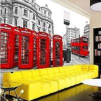 Lcymt カスタムロンドン赤バスシティビュー壁紙人格レトロカフェリビングルームの背景3Dの壁壁画壁紙家の装飾-200X140Cm