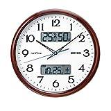 セイコークロック 掛け時計 05:茶木目 02:直径31cm 電波 アナログ カレンダー 温度 湿度 表示 ネクスタイム ZS252B