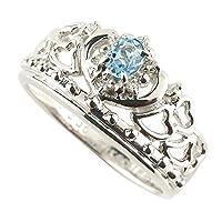 [アトラス] Atrus ブルートパーズ 透かし ティアラ ハート 11月誕生石 幅広 ホワイトゴールド 18金 指輪 リング ダイヤモンド レディース 2号