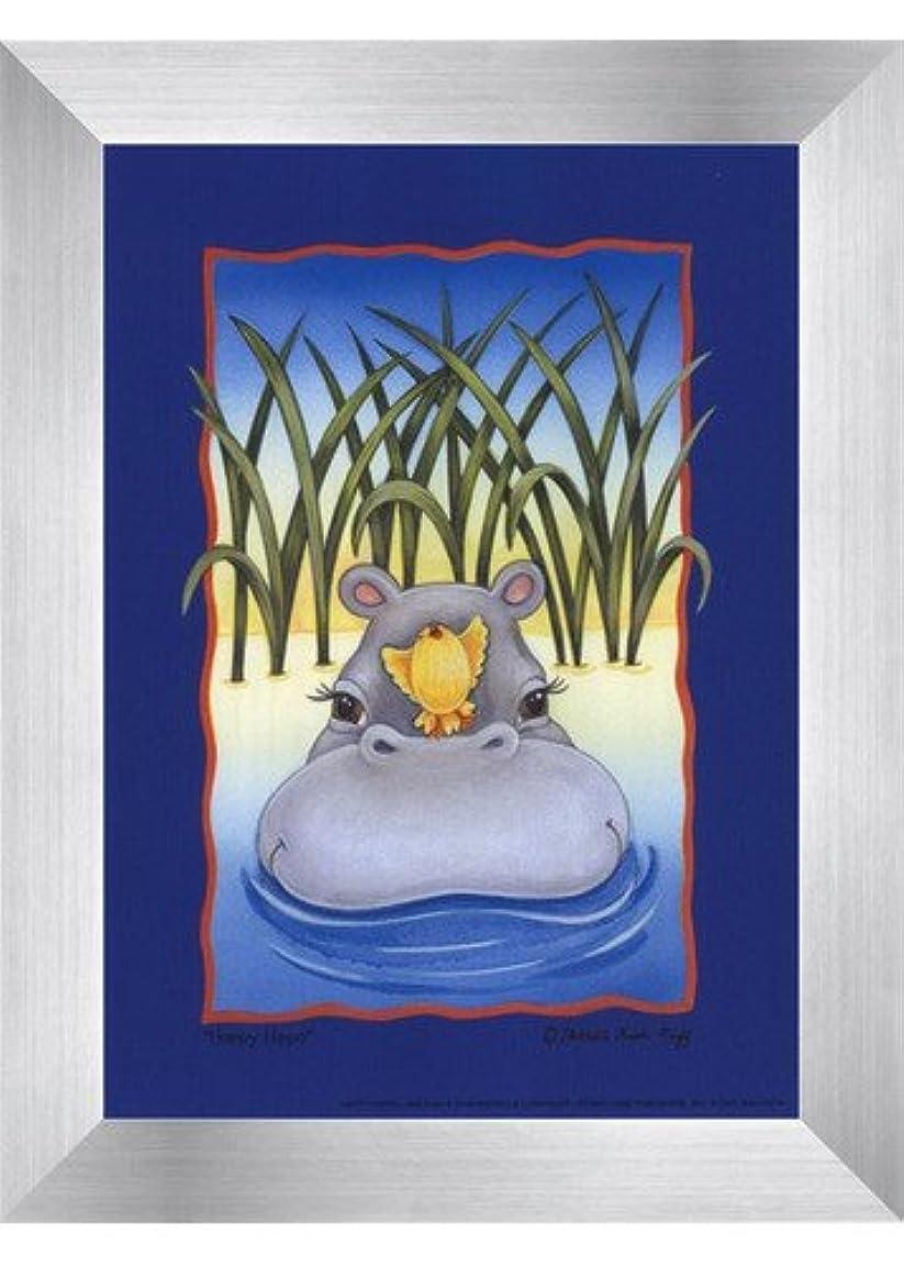 正確突然しょっぱいHappy Hippo by Michelle lash- Ruff – 5 x 7インチ – アートプリントポスター LE_614322-F9935-5x7