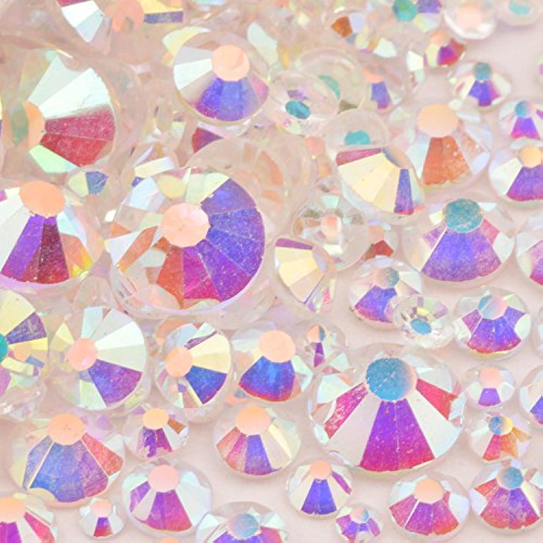高品質ガラスストーン mixサイズ SS20 SS16 SS12 SS10 SS8 SS6 SS4 SS3 (入数1000粒以上) (オーロラ/クリアタイプmix)
