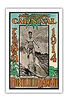 1914ミッドパシフィック・カーニバル - ホノルルハワイ - 特長デューク・カハナモク、世界のチャンピオンのスイマー - ビンテージなカーニバルのポスター によって作成された ルー・ヘンダーソン, ネッド・スティール c.1914 - アートポスター - 61cm x 91cm