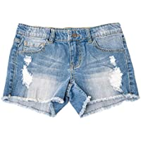 Khanomak Kids Girls Denim Distress Ripped Shorts with Adjustable Bands