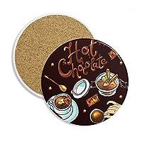 ホット・チョコレート・デザートドリンクフランス 飲料用2ピースギフトセラミックコースターマグ、カップホルダ吸収ストーン