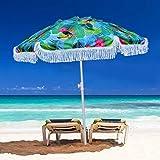 AMMSUN 2m屋外パティオビーチパラソルサンシェルター、フリンジUV50 +サンプロテクション、軽量、ポータブル&イージー、屋外ビーチに最適、キャンプ、スポーツ、庭園、バルコニー、パティオ