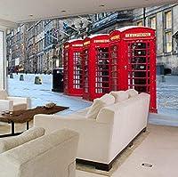 Lcymt カスタム写真の壁紙大壁画テレビの背景英国スタイルレトロレッドストリートの壁紙装飾壁紙壁画-200X140Cm