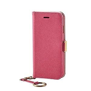 エレコム iPhone7ケース [iPhone8対応] ソフトレザーケース 女子向 マグネット ストラップ付 手帳型 ディープピンク PM-A16MPLFJMPND