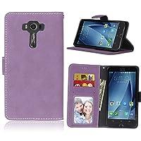 携帯電話ケース, レトロソリッドカラープレミアムPUレザーウォレットケースは、Asus ZenFone 3 ZS550MLのための裏紙のフォリオ保護ケースカバー (色 : 紫の)