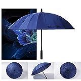 MOGGIN  長傘 和傘 大きな傘 ウォーターフロント傘 日傘 手開き式 大型 ジャンボサイズ (直径115cm) 軽量 グラスファイバー 超撥水テフロン加工&悪天候に強い 晴雨兼用 男女兼用 無地 umbrella【傘袋付き・全10色】 (ネイビー)