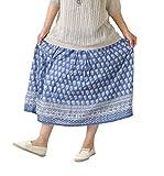 nnr6120 M~L BLUE (ヨンユー)4u ロングスカート フレアスカート ペイズリー柄 ギャザー nnr6120