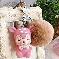 POOM甘い 2 色-花のハート鹿キーホルダーおもちゃ、ぬいぐるみ動物のおもちゃ、小さなペンダント人形、結婚式のパーティーのギフトぬいぐるみぬいぐるみ