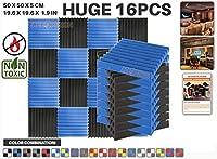 エースパンチ 新しい 16ピースカラーコンビセット青と黒 500 x 500 x 50 mm ウェッジ 東京防音 ポリウレタン 吸音材 アコースティックフォーム AP1134