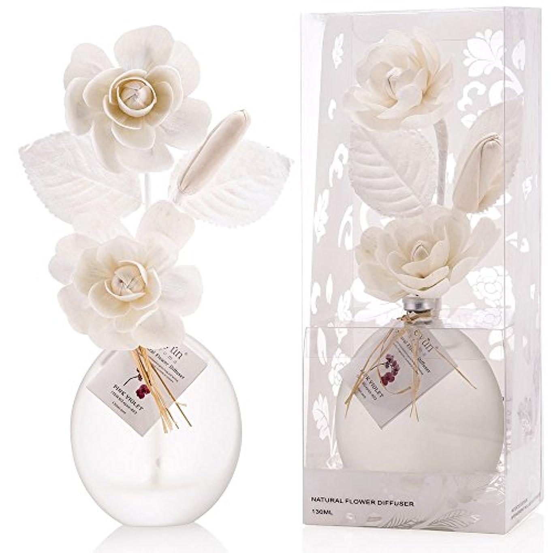 リッチコーデリアモットー誕生日 プレゼント に A03 ルームフレグランス (花瓶:白、香り:ピンク バイオレット)