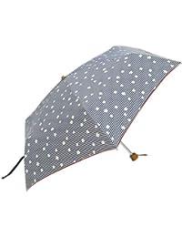 @quas hack(アクアス ハック) レディース かわいい 超撥水ボーダードット 55cm ミニ折りたたみ傘