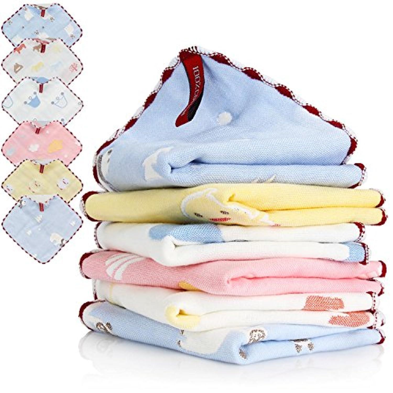 ガーゼ ハンカチ ベビータオル BAGERLY 6層ガーゼ 綿100% 無添加コットン赤ちゃん用 6枚