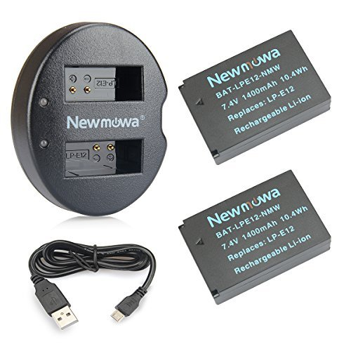 バッテリーパック Newmowa LP-E12 互換バッテリー 2個 + 充電器 セット Canon LP-E12 Canon EOS M M2 M10 M100 EOS 100D EOS Rebel SL1 EOS KISS X7 EOS M50