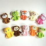 amzmonnsuta 10個入りかわいい動物 指人形 超萌えパペットおもちゃ 指のドール・手のカバー・ぬいぐるみ人形 赤ちゃん知育玩具・早期教育・学習玩具 マペット手袋 指の人形 親子のコミュニケーション・物語の良いヘルパー