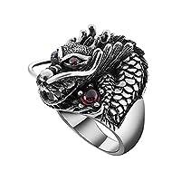 ADisaer シルバー 純銀製 925 指輪 リング メンズ ヒップホップ 赤い目 中国のドラゴン ゴールド
