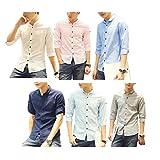 (Make 2 Be) メンズ トップス シャツ 半袖 七分袖 無地 麻混紡 丸襟 スリム MF51