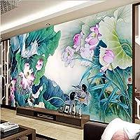 Wuyyii カスタム壁画不織布3Dルーム壁紙ステッカーインク絵画蓮マンダリンアヒル写真3D壁壁画壁紙-400X280Cm