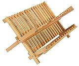 CORCOPI 水切りかご ディッシュ ラック 食器 トレー 木製 竹 折りたたみ X型