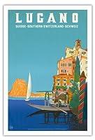 ルガーノ - 南スイス - ルガーノ湖 - ビンテージな世界旅行のポスター によって作成された レオポルド・メトリコヴィッツ c.1958 - アートポスター - 76cm x 112cm