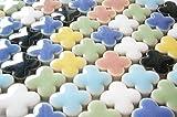モザイクタイル 14㎜ かわいいクローバー型 セラミック(陶器) 7色 カラフル マルチカラー ミックス (日本製) クラフト ハンドメイド に (300g、約210個)の写真