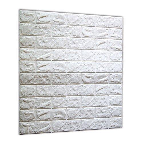 ブリック タイル レンガ 壁紙シール 70cm×77cm ブリックステッカー 軽量レンガシール 壁紙シール アクセントクロス ウォールシール はがせる 壁シール (お得10枚セット, ホワイト)