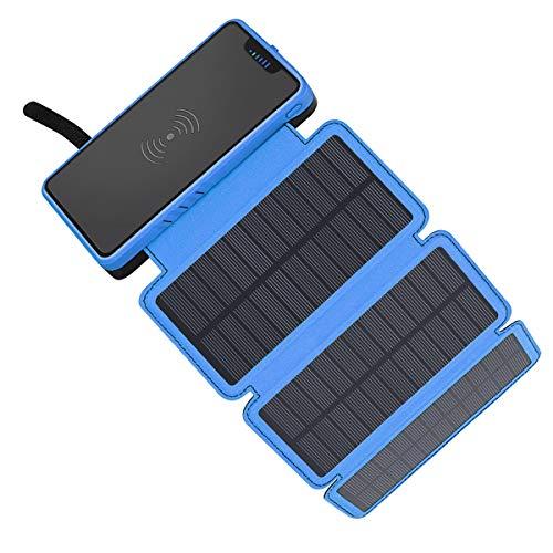 モバイルバッテリー ソーラー バッテリー ソーラーチャージャー 20000mAh 大容量elzle ワイヤレス充電器 急速充電 QuickCharge 2USB出力ポート PSE認証済 LEDランプ搭載 3枚ソーラーパネル 折りたたみ式 太陽光発電 IOS/Andoroid スマホ充電器 耐衝撃 災害/旅行/出張/アウトドアに大活躍に