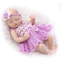 NKol Mini Reborn Baby Dolls Soft Silicone Full Body Newborn Realistic Girl Doll (Waterproof, Closed Eyes), 11inch Purple