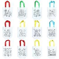 LULAA 12枚 DIY手描きバッグ DIY落書きバッグ キャンバス バッグ 絵画材料 知育玩具 子供大人兼用 ギフト
