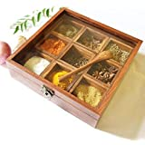 Masala Box with Glass On Top & Spoon