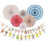 Kids Happy Birthday Banner Happy Birthday Decoration-Party Decorations Birthday Kids - Hanging Fiesta Paper Fan- Mexican Fiesta Hanging Paper Fans [並行輸入品]