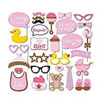 ULTNICE 29pcs Newborn Baby Shower Photo Props Booth for Party Decoration - Mask Glasses Shoes Bottle