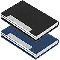 2 PCS Business Name Card Case, SENHAI PU Leather and Stainless Steel ID Card Holder for Men and Women with Magnetic Shut, Keep Cards Clean (Black, Blue)