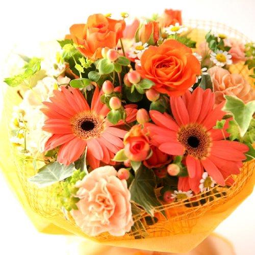 花とスイーツセット 生花 花束 アレンジメント (オレンジ色のお花) 誕生日プレゼント お祝い 花ギフト