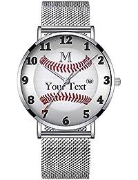 ミニマリストファッションクォーツ腕時計エリート超薄型防水スポーツ時計メッシュバンドと日付 018.パーソナライズされた男と男の子のための野球の腕時計