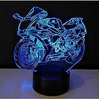 3dオートバイledナイトライト電球ライトおもちゃ色可変テーブルランプメタクリレートプレート子供の常夜灯lamparas