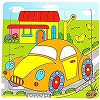 HuaQingPiJu-JP かわいい木製の教育的なパズルアーリーラーニング番号の形の色の動物のおもちゃ子供のための素晴らしいギフト(車)